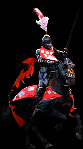 Late-medieval jousting knight on black stallion